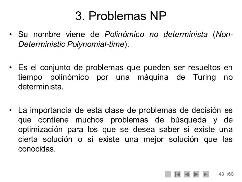 3. Problemas NP Su nombre viene de Polinómico no determinista (Non-Deterministic Polynomial-time).