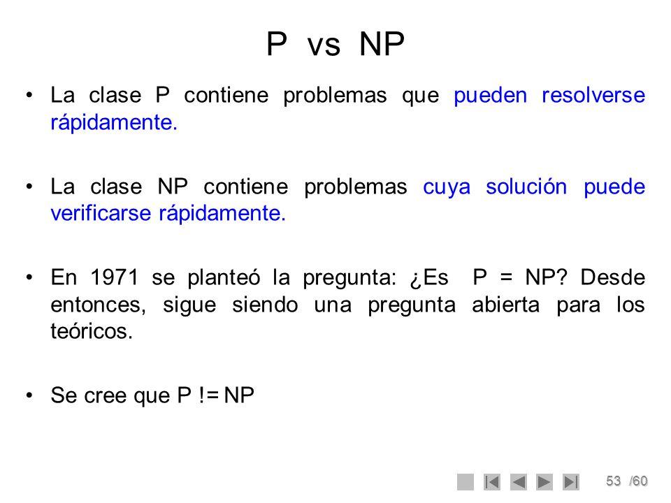 P vs NP La clase P contiene problemas que pueden resolverse rápidamente.