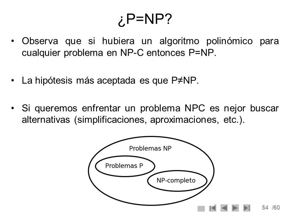 ¿P=NP Observa que si hubiera un algoritmo polinómico para cualquier problema en NP-C entonces P=NP.