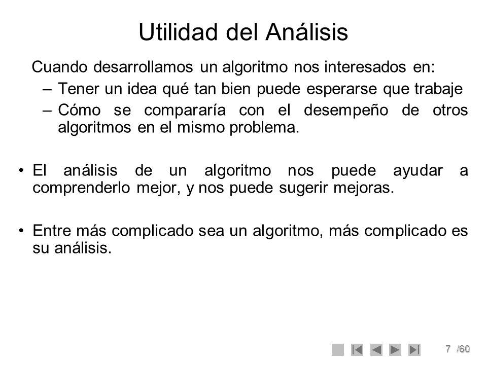 Utilidad del Análisis Cuando desarrollamos un algoritmo nos interesados en: Tener un idea qué tan bien puede esperarse que trabaje.
