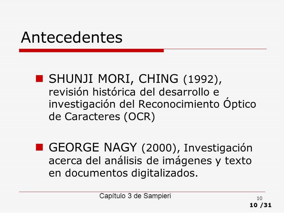 Antecedentes SHUNJI MORI, CHING (1992), revisión histórica del desarrollo e investigación del Reconocimiento Óptico de Caracteres (OCR)