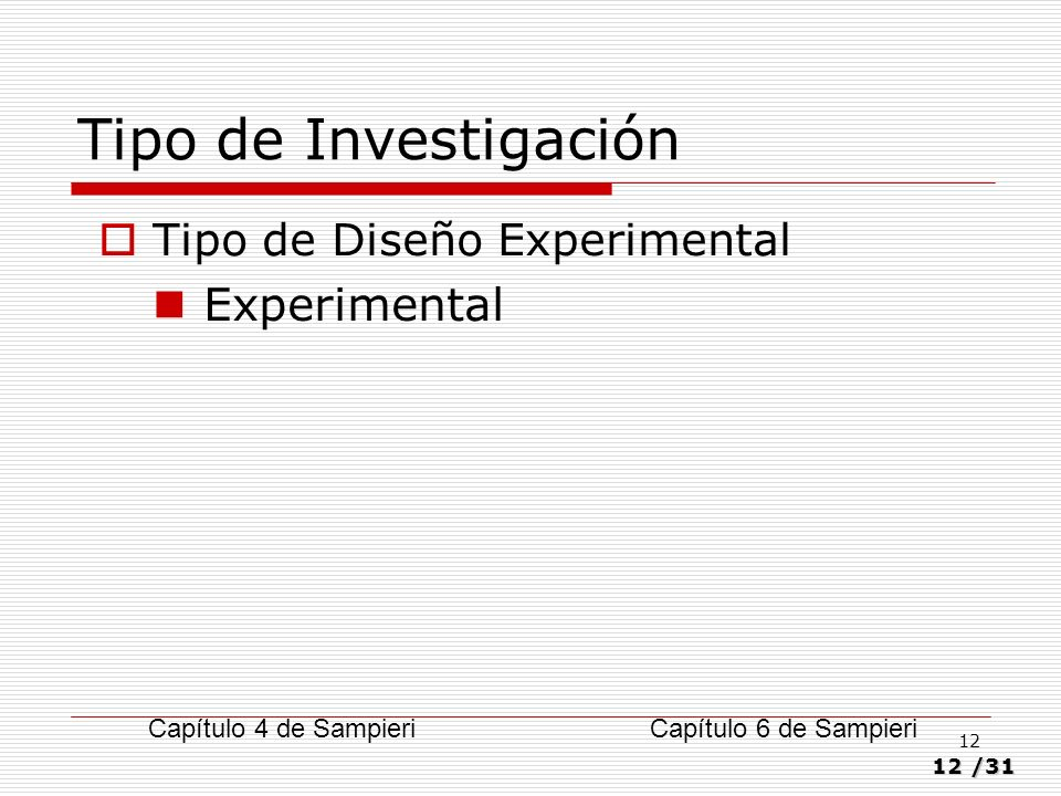 Tipo de Investigación Experimental Tipo de Diseño Experimental