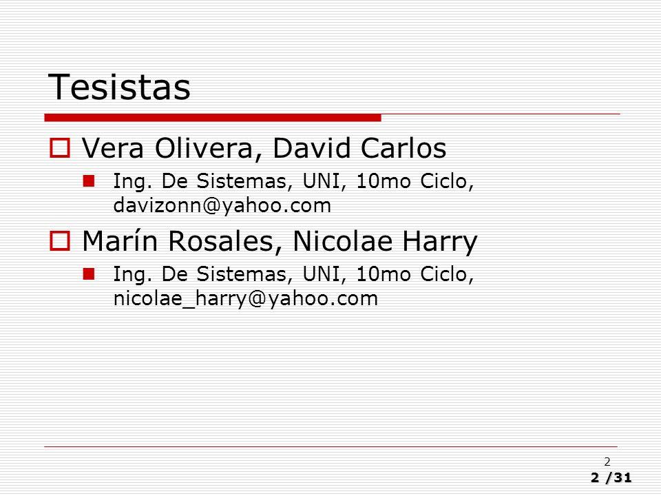 Tesistas Vera Olivera, David Carlos Marín Rosales, Nicolae Harry