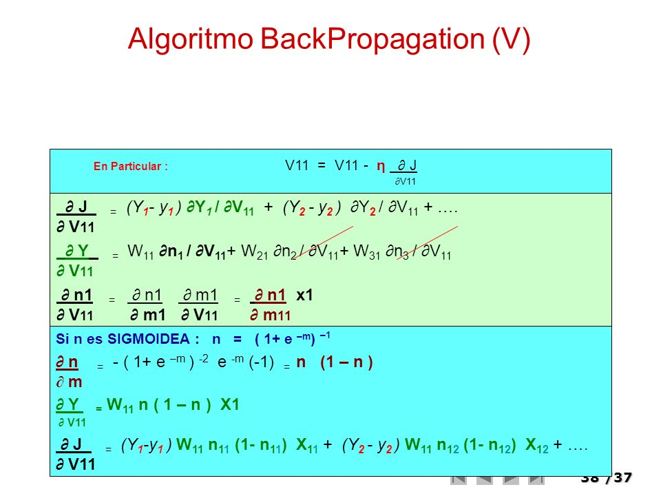 Algoritmo BackPropagation (V)