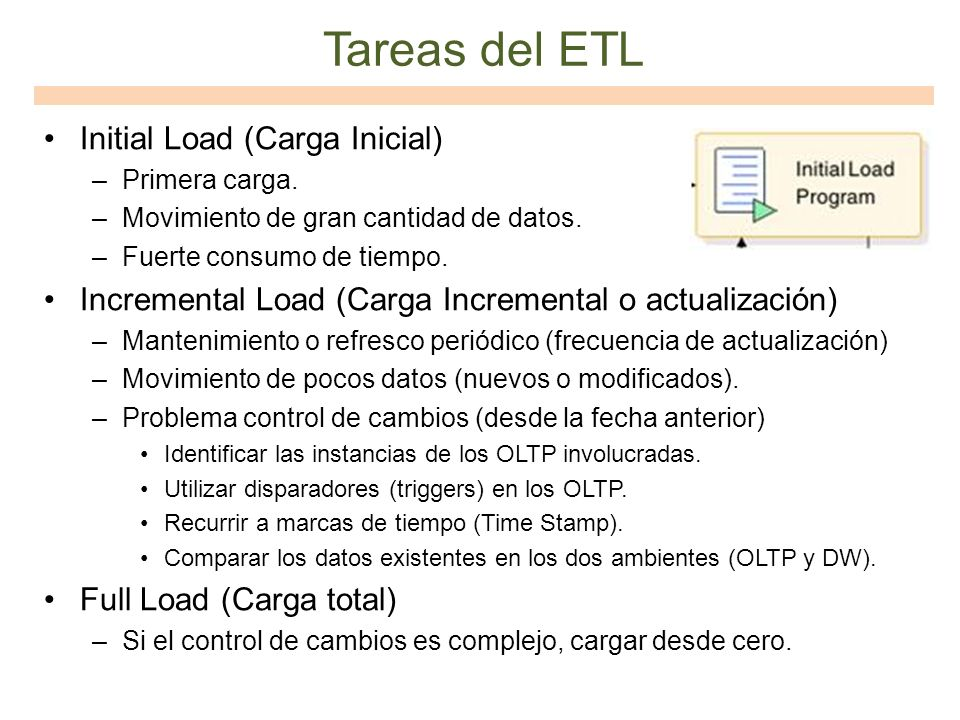 Tareas del ETL Initial Load (Carga Inicial)