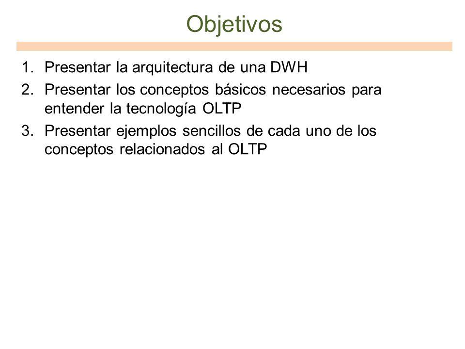 Objetivos Presentar la arquitectura de una DWH