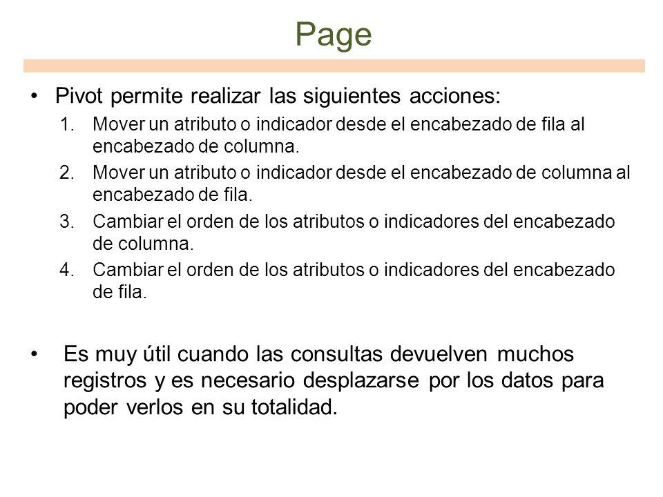 Page Pivot permite realizar las siguientes acciones: