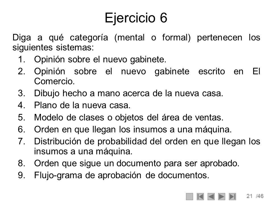 Ejercicio 6 Diga a qué categoría (mental o formal) pertenecen los siguientes sistemas: Opinión sobre el nuevo gabinete.