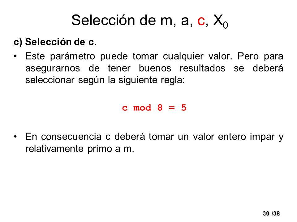 Selección de m, a, c, X0 c) Selección de c.