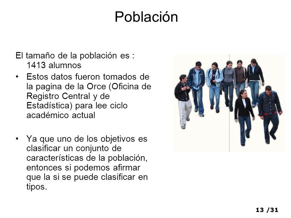 Población El tamaño de la población es : 1413 alumnos