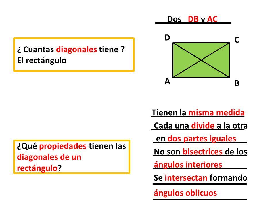 Dos DB y AC A. D. B. C. ¿ Cuantas diagonales tiene El rectángulo. Tienen la misma medida.