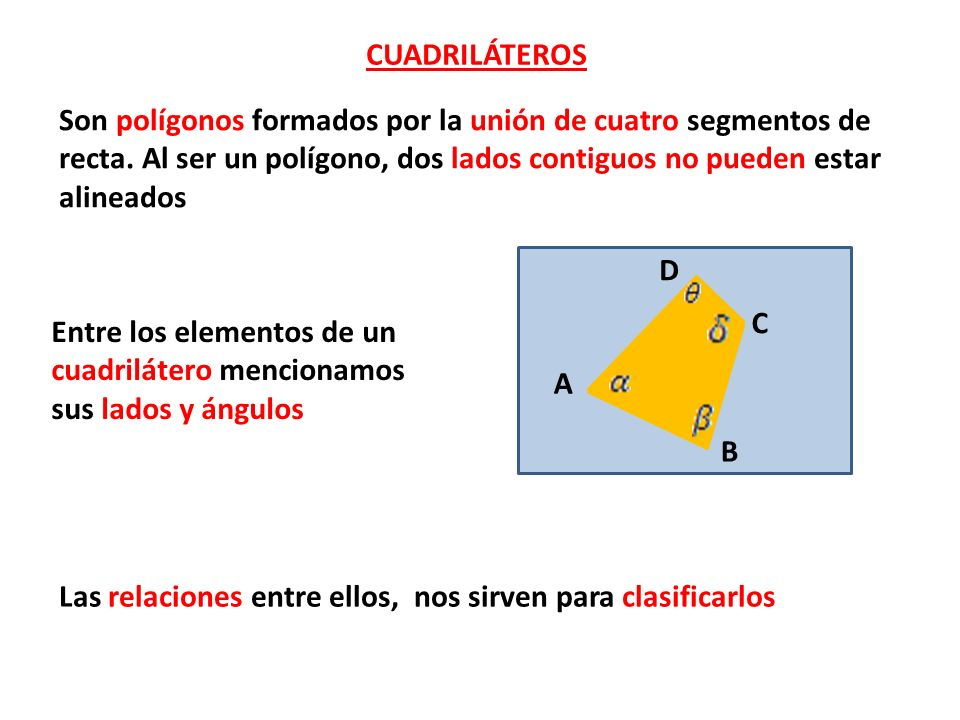 Entre los elementos de un cuadrilátero mencionamos sus lados y ángulos