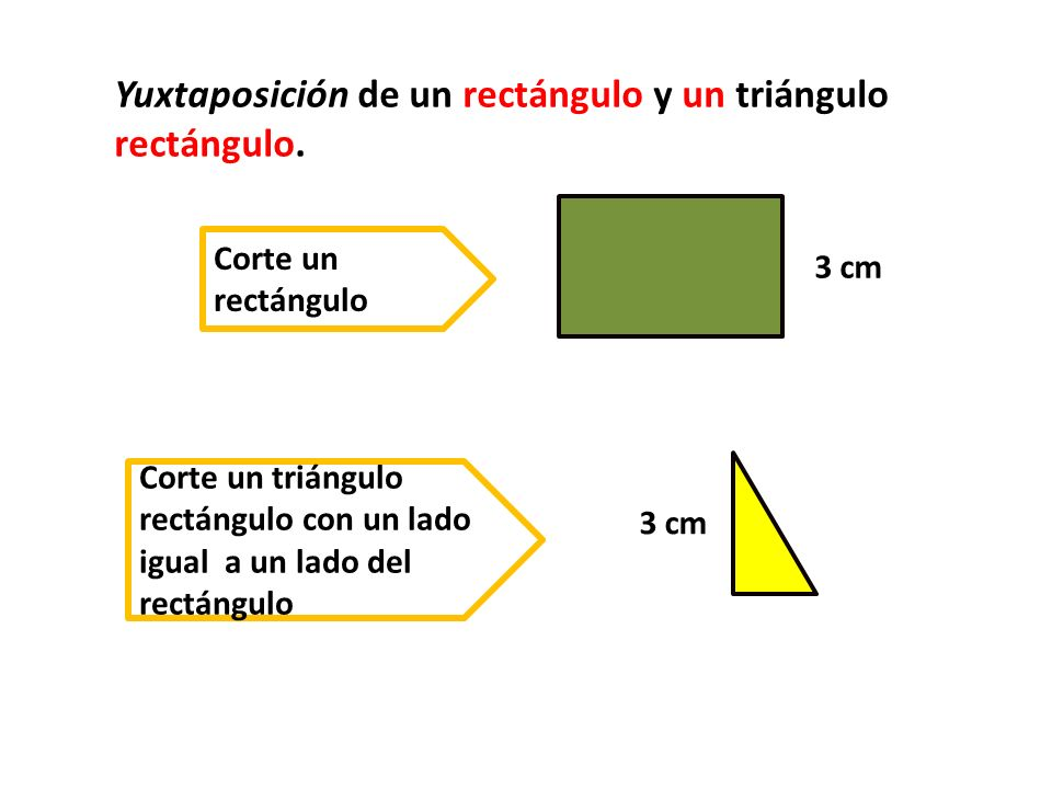 Yuxtaposición de un rectángulo y un triángulo rectángulo.