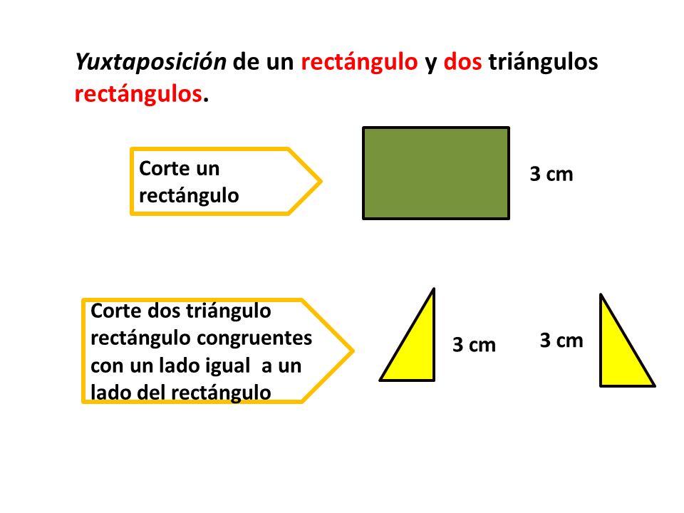 Yuxtaposición de un rectángulo y dos triángulos rectángulos.