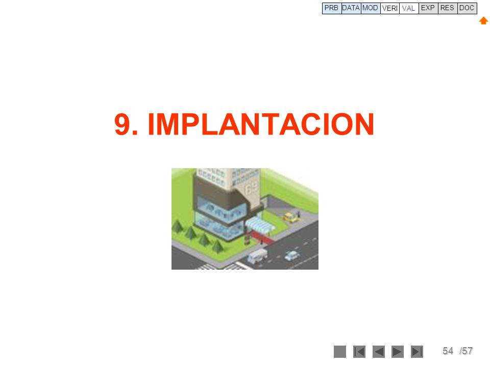 PRB DATA VERI MOD VAL EXP RES DOC 9. IMPLANTACION