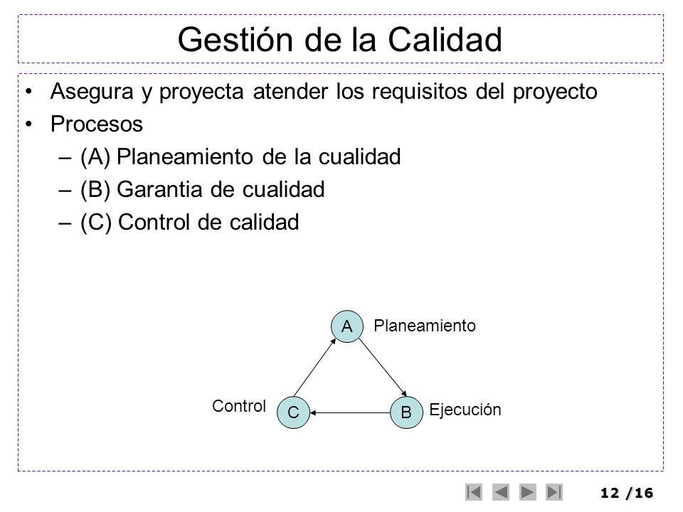 Gestión de la Calidad Asegura y proyecta atender los requisitos del proyecto. Procesos. (A) Planeamiento de la cualidad.