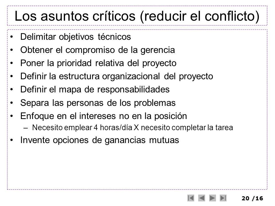 Los asuntos críticos (reducir el conflicto)