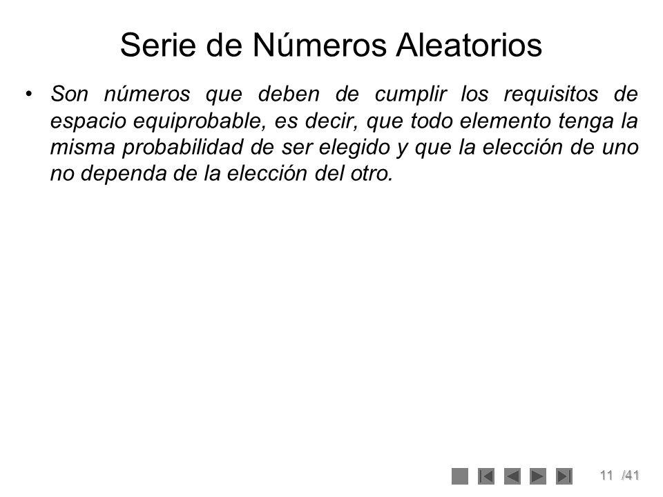 Serie de Números Aleatorios