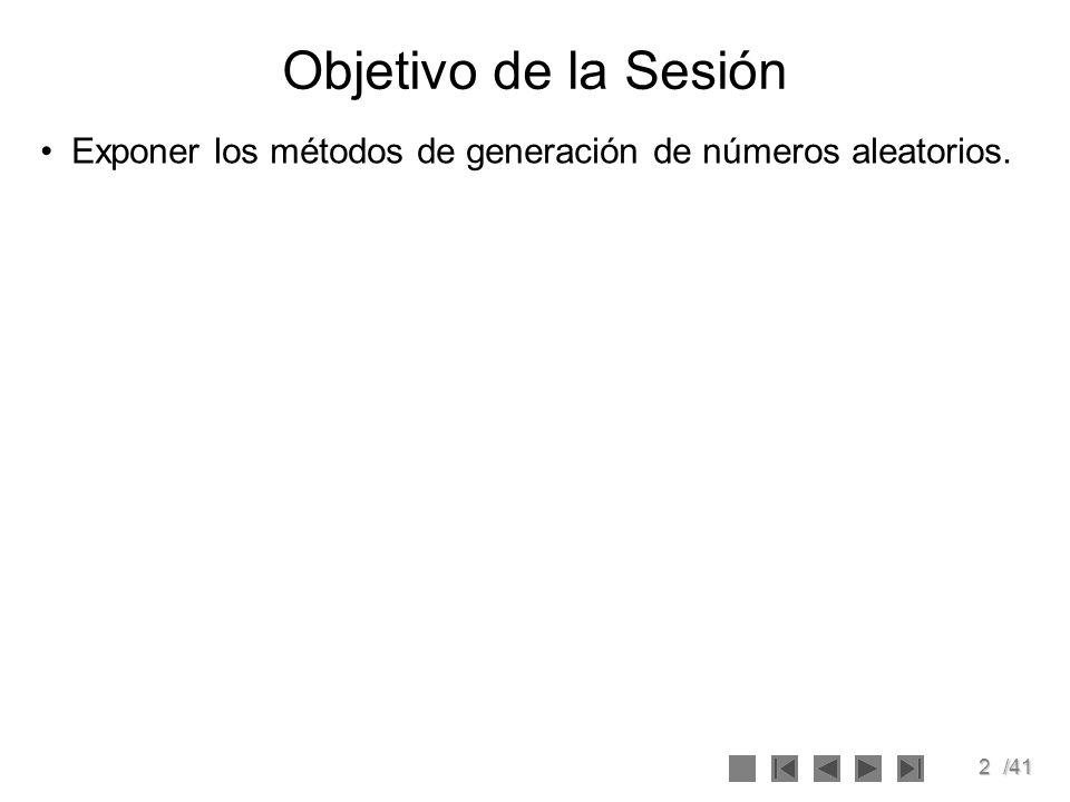 Objetivo de la Sesión Exponer los métodos de generación de números aleatorios.