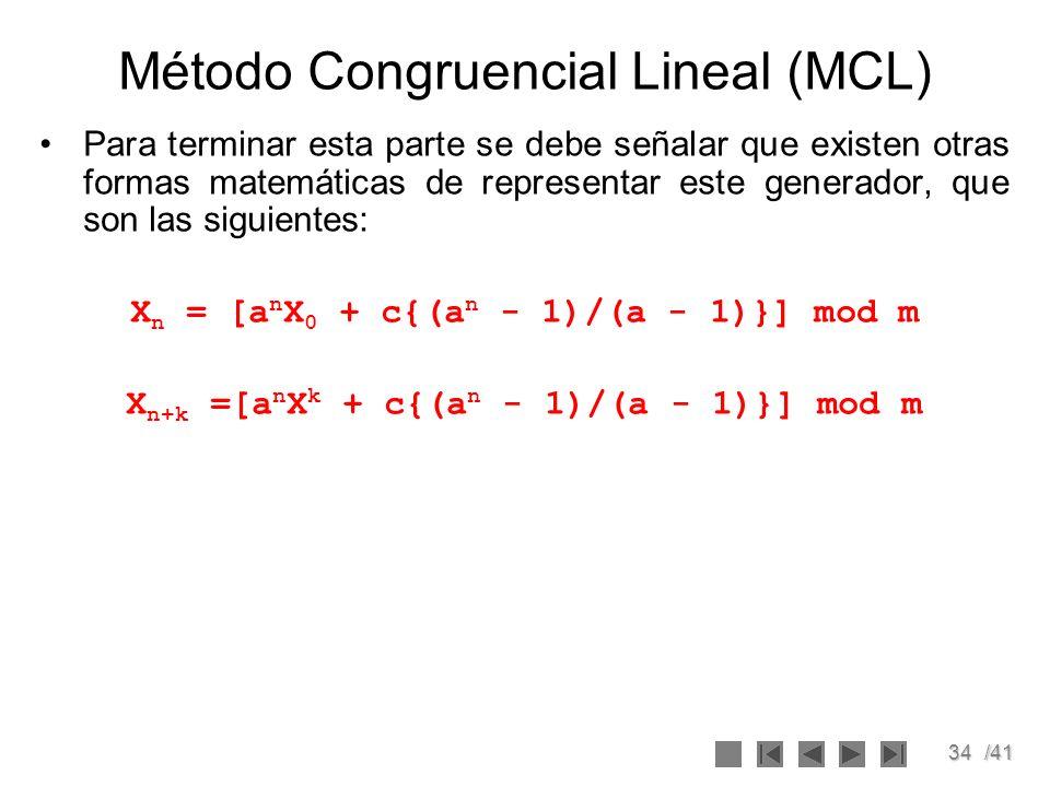 Método Congruencial Lineal (MCL)