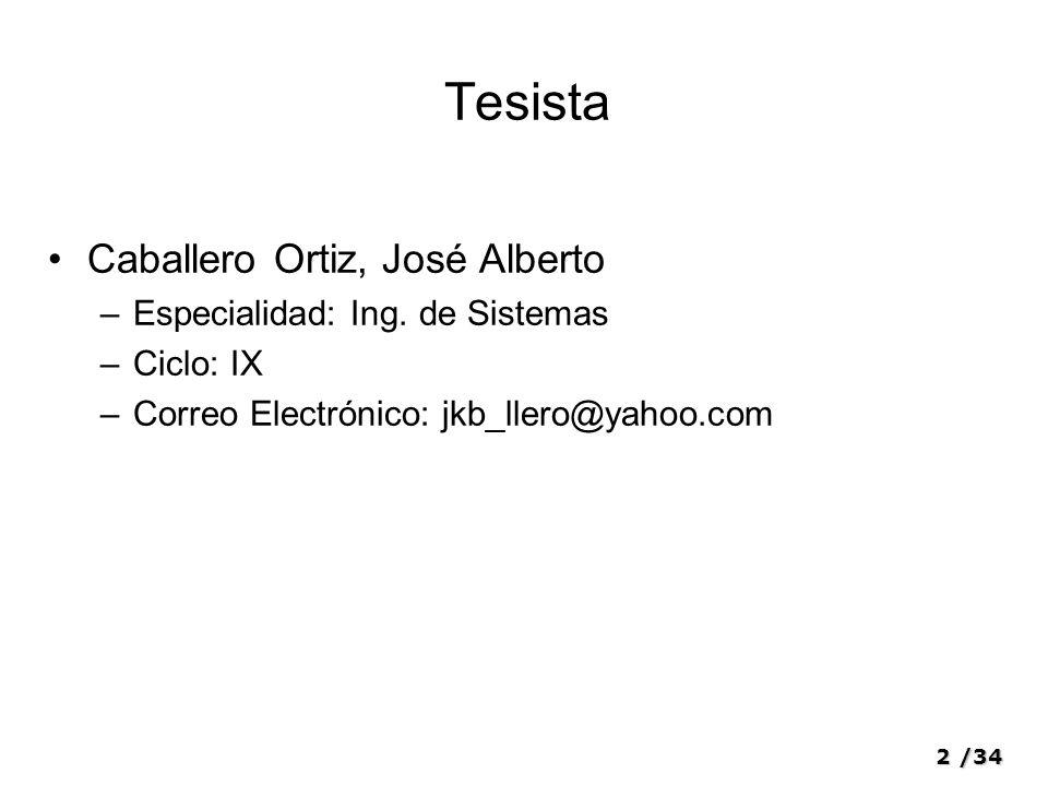 Tesista Caballero Ortiz, José Alberto Especialidad: Ing. de Sistemas
