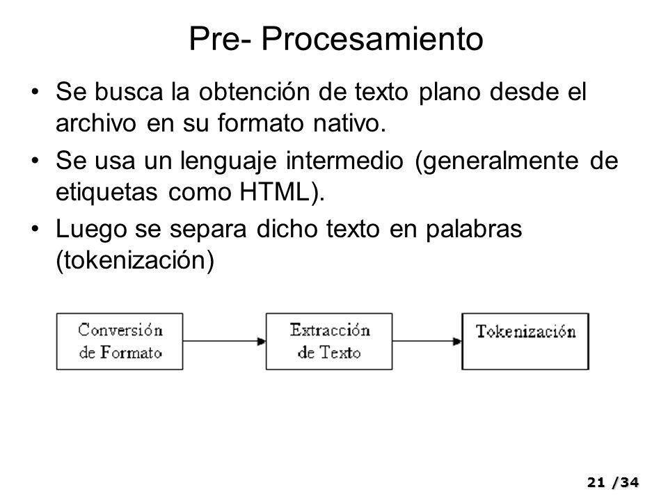 Pre- Procesamiento Se busca la obtención de texto plano desde el archivo en su formato nativo.