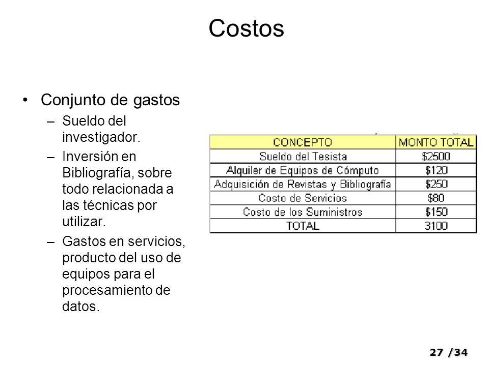 Costos Conjunto de gastos Sueldo del investigador.