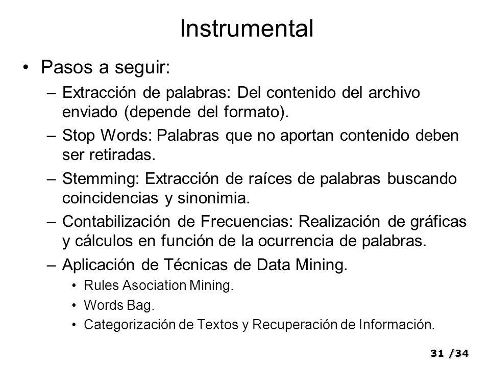 Instrumental Pasos a seguir: