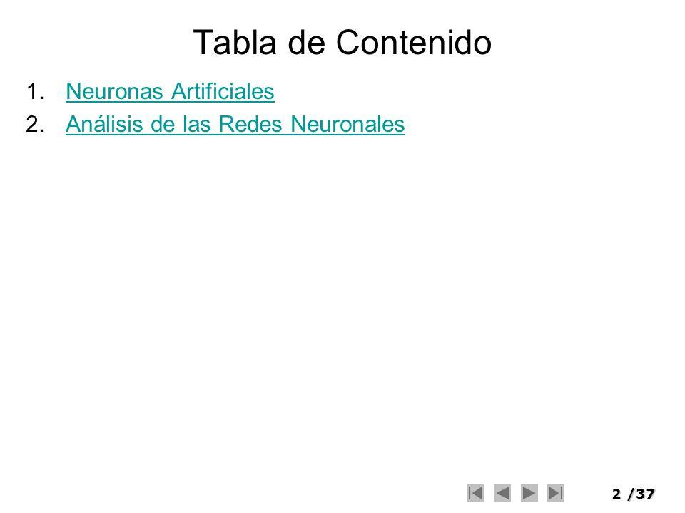 Tabla de Contenido Neuronas Artificiales