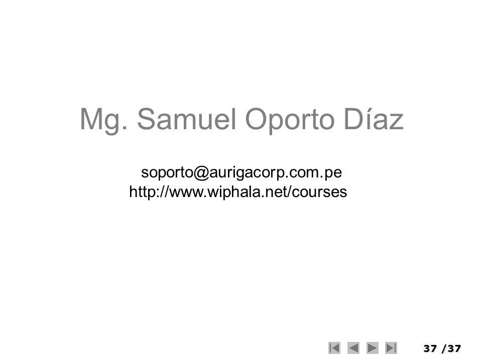 Mg. Samuel Oporto Díaz soporto@aurigacorp.com.pe