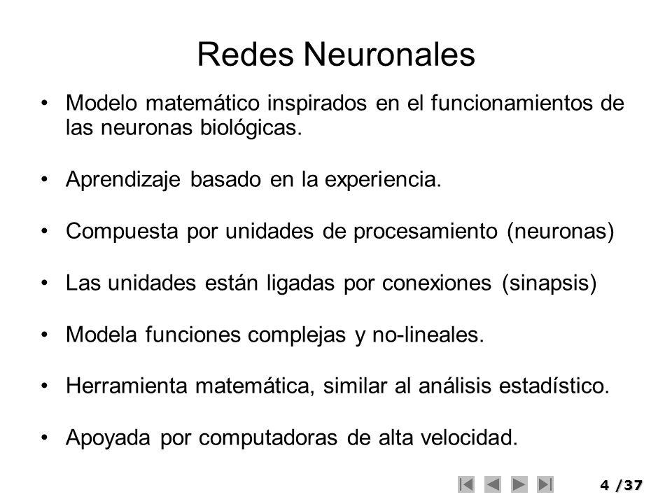 Redes Neuronales Modelo matemático inspirados en el funcionamientos de las neuronas biológicas. Aprendizaje basado en la experiencia.