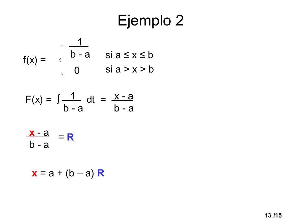 Ejemplo 2 1 . b - a si a ≤ x ≤ b si a > x > b f(x) = 1 . b - a