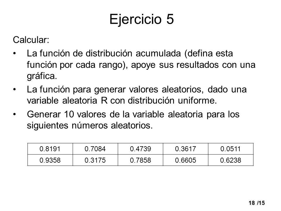 Ejercicio 5Calcular: La función de distribución acumulada (defina esta función por cada rango), apoye sus resultados con una gráfica.