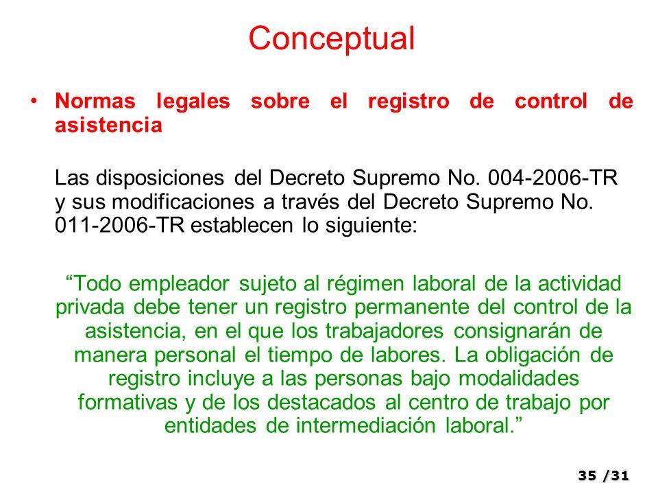 Conceptual Normas legales sobre el registro de control de asistencia