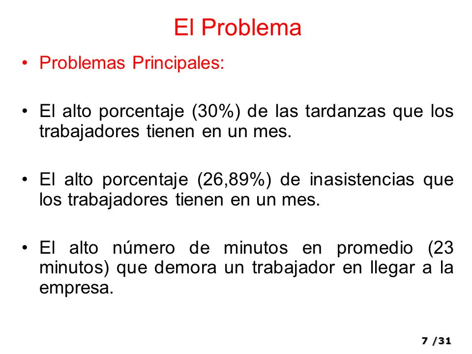 El Problema Problemas Principales: