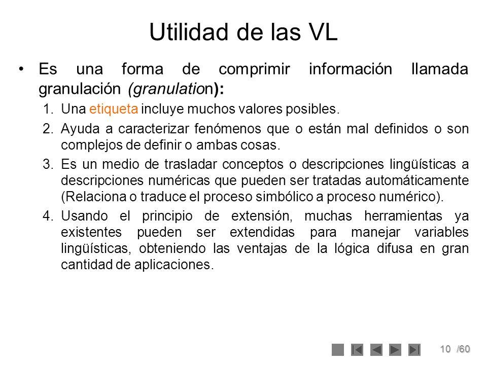 Utilidad de las VL Es una forma de comprimir información llamada granulación (granulation): Una etiqueta incluye muchos valores posibles.