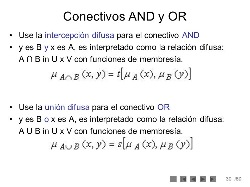 Conectivos AND y OR Use la intercepción difusa para el conectivo AND