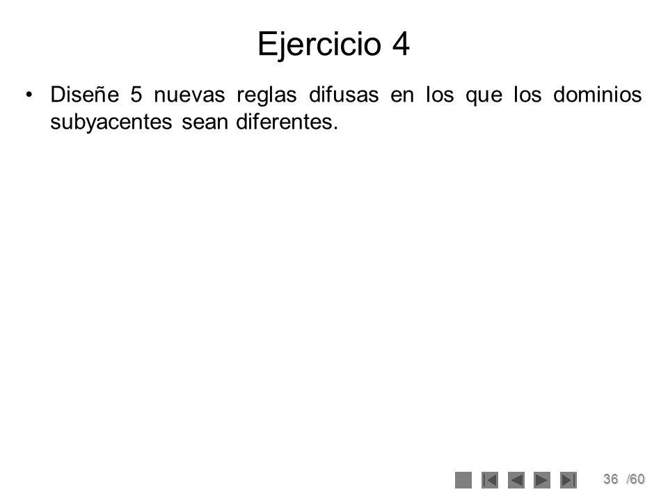 Ejercicio 4 Diseñe 5 nuevas reglas difusas en los que los dominios subyacentes sean diferentes.
