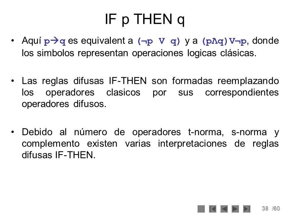 IF p THEN q Aquí pq es equivalent a (¬p V q) y a (pΛq)V¬p, donde los simbolos representan operaciones logicas clásicas.