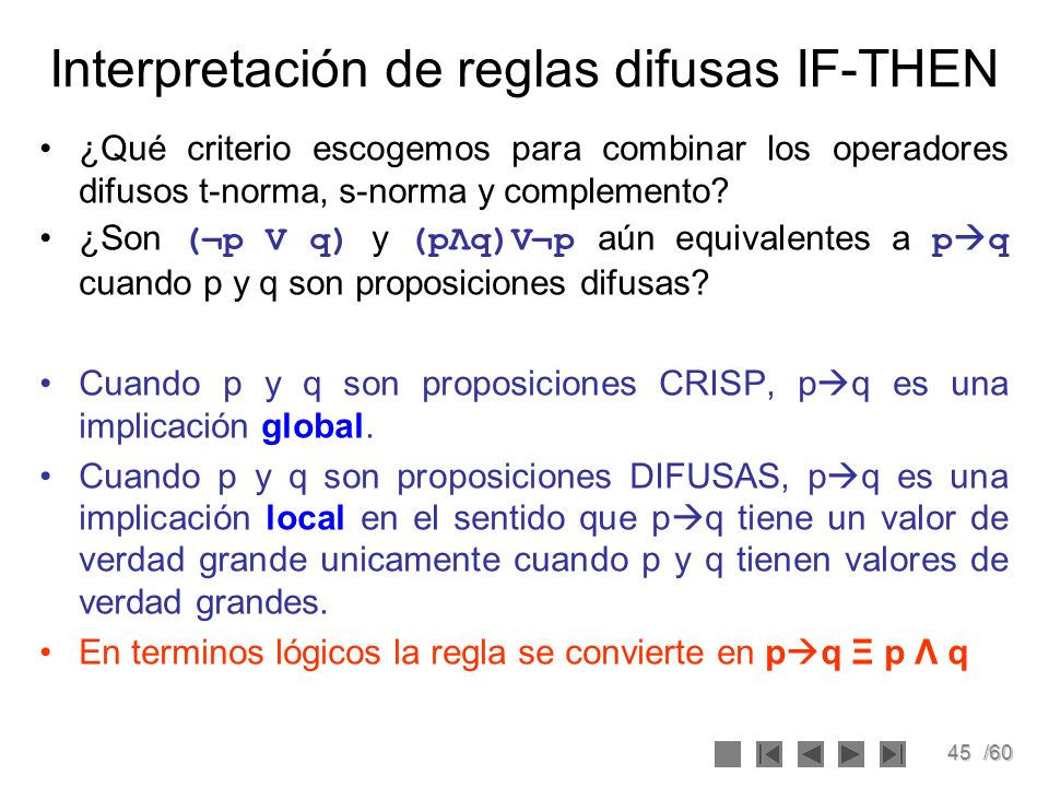 Interpretación de reglas difusas IF-THEN