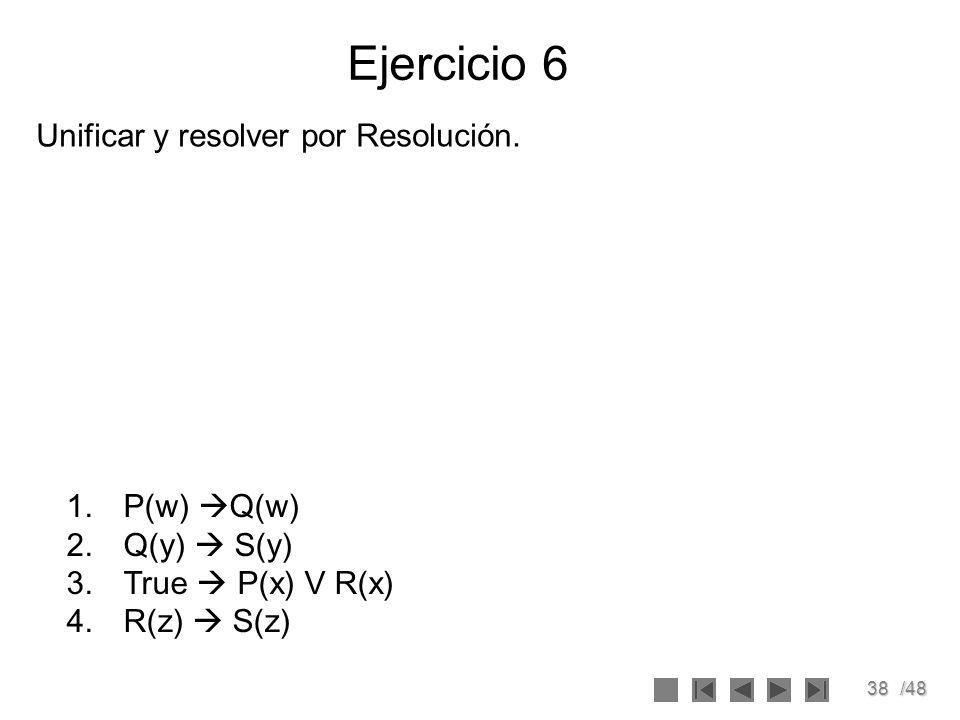 Ejercicio 6 Unificar y resolver por Resolución. P(w) Q(w) Q(y)  S(y)