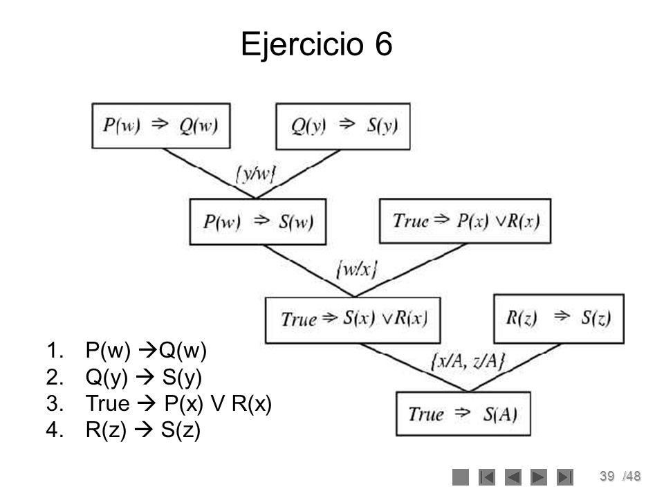 Ejercicio 6 P(w) Q(w) Q(y)  S(y) True  P(x) V R(x) R(z)  S(z)
