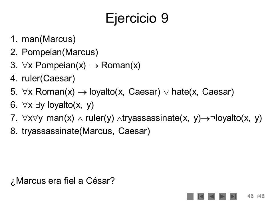 Ejercicio 9 man(Marcus) Pompeian(Marcus) x Pompeian(x)  Roman(x)