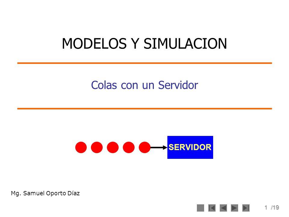 MODELOS Y SIMULACION Colas con un Servidor SERVIDOR