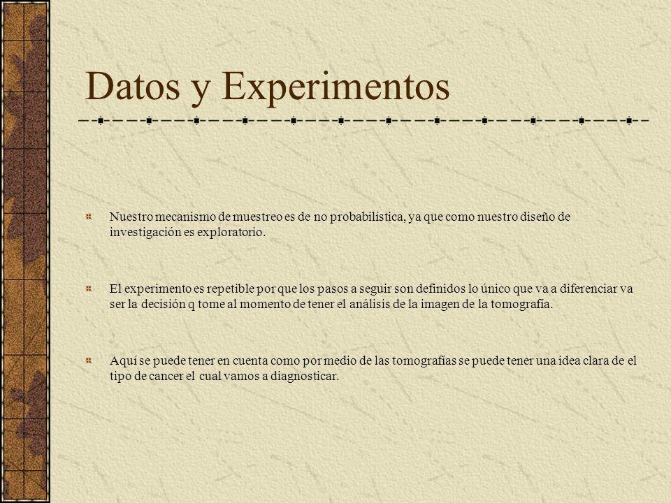 Datos y Experimentos Nuestro mecanismo de muestreo es de no probabilística, ya que como nuestro diseño de investigación es exploratorio.