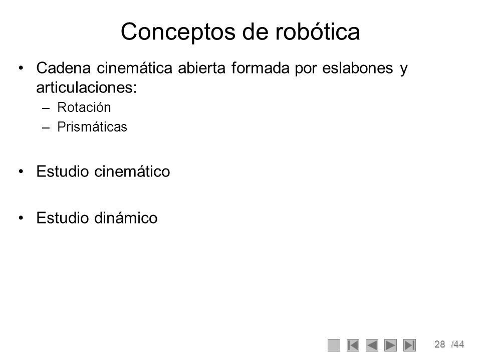 Conceptos de robótica Cadena cinemática abierta formada por eslabones y articulaciones: Rotación. Prismáticas.