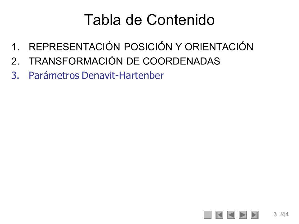 Tabla de Contenido REPRESENTACIÓN POSICIÓN Y ORIENTACIÓN