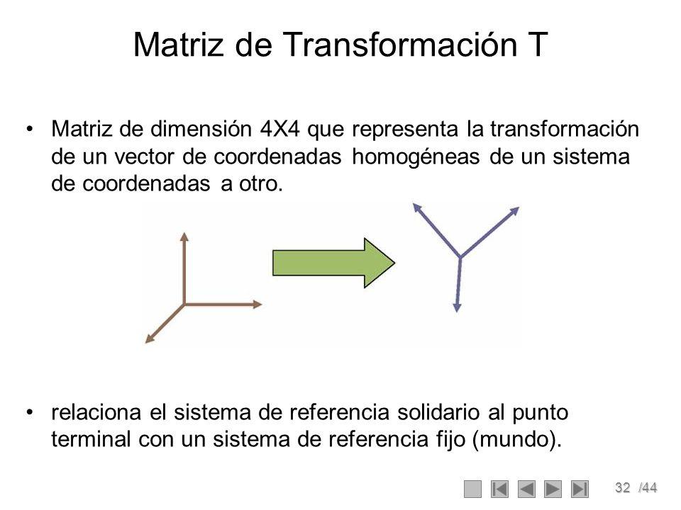 Matriz de Transformación T