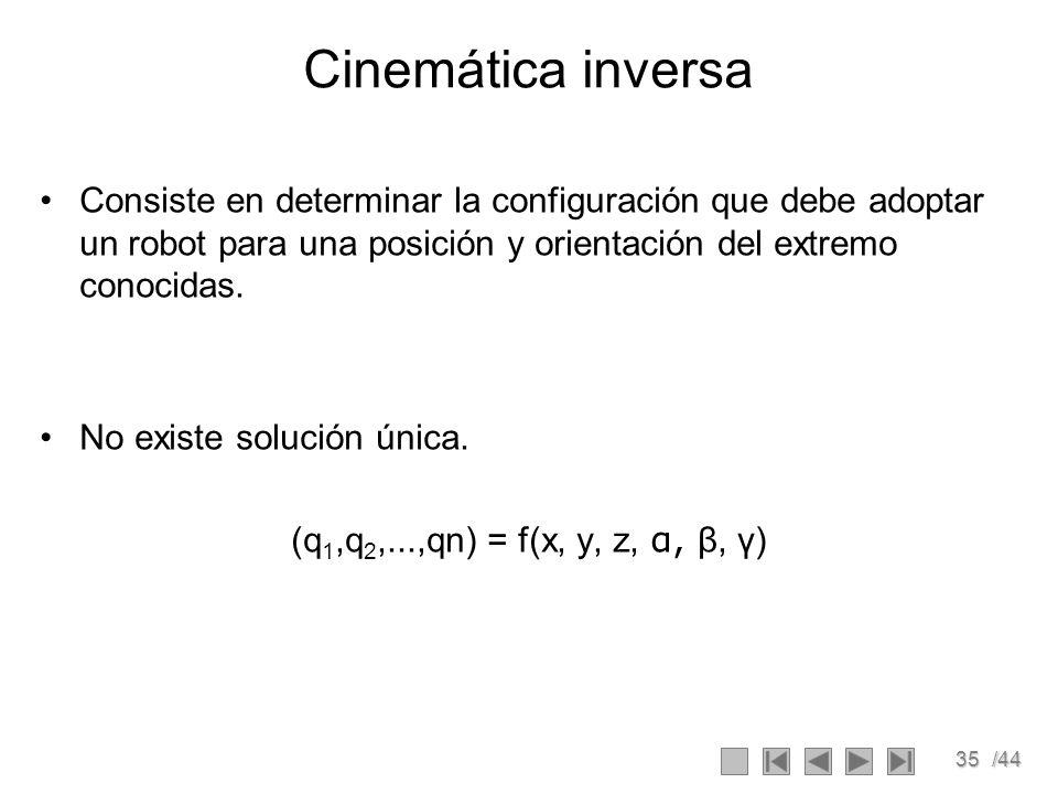 Cinemática inversa Consiste en determinar la configuración que debe adoptar un robot para una posición y orientación del extremo conocidas.