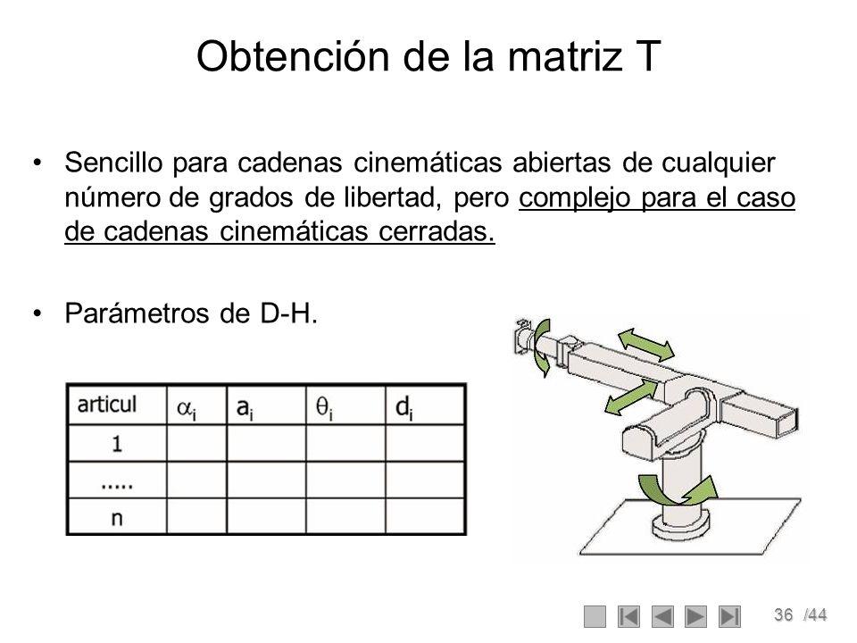 Obtención de la matriz T